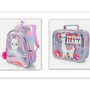NEW JUSTICE LLAMA BACKPACK AND LUNCHBOX